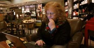 A WRITER IN HER NATURAL HABITAT - STARBUCKS.